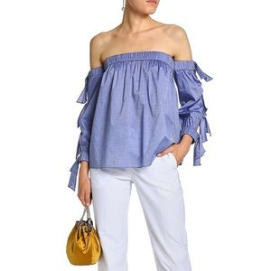 Milly Blythe off-the-shoulder Chambray top Blouse